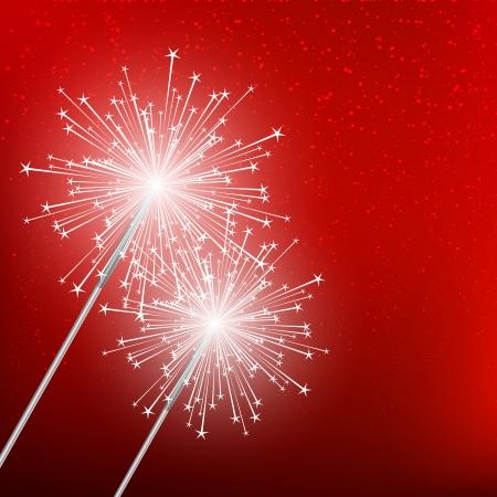bengal light: Starry sparklers on red background Illustration