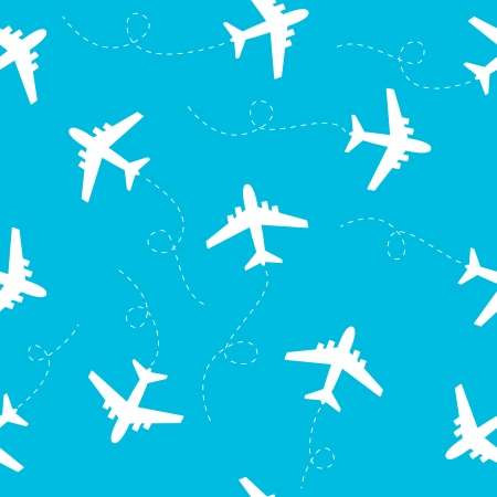 Seamless pattern with airplanes silhouettes Stock Vector - 22784699