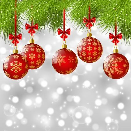Christmas tree branches with red balls Vector