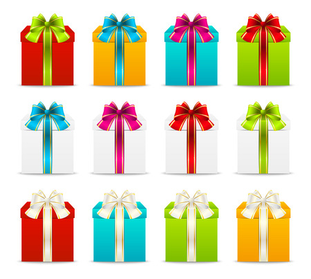 blue bow: Set of gift boxes with color ribbons Illustration