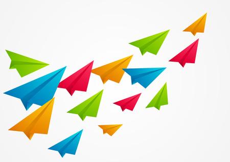 Kleur papieren vliegtuigjes - vector illustratie Stock Illustratie