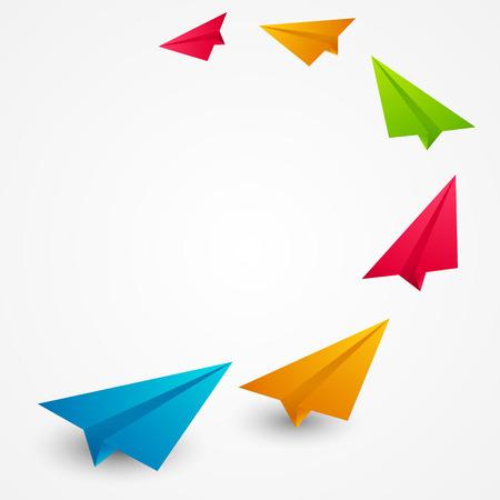 カラー紙飛行機 - ベクトル イラスト  イラスト・ベクター素材