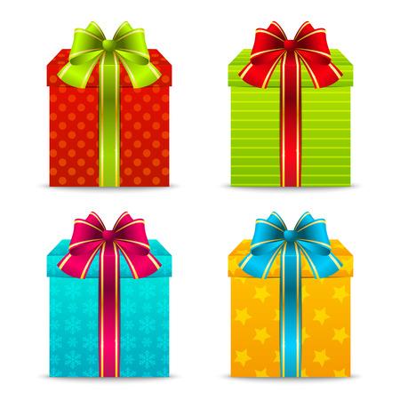 Jeu de couleurs des boîtes de cadeau de Noël Illustration
