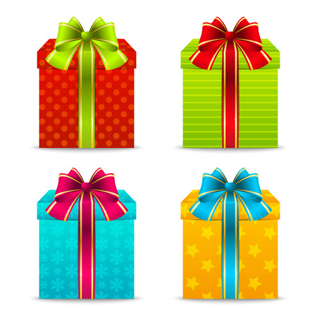 Set of color Christmas gift boxes