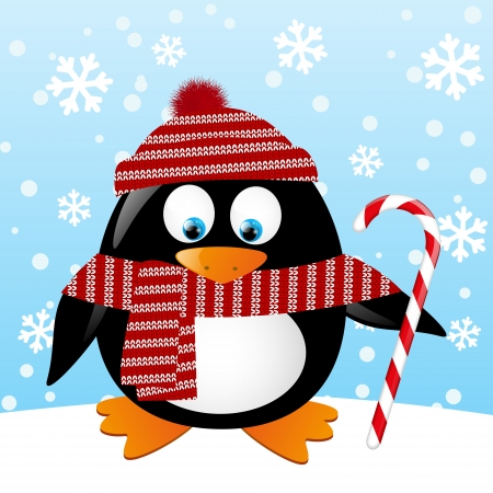Cute penguin with Christmas candy Vector