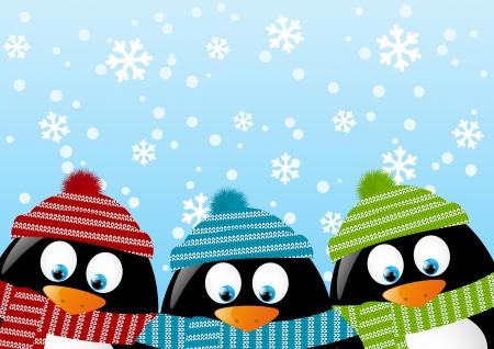 cute border: Pinguini carino su sfondo invernale Vettoriali
