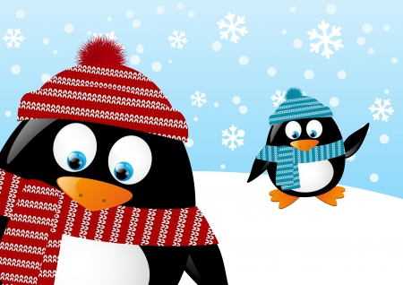 cartoon: Cute penguins on winter background Illustration