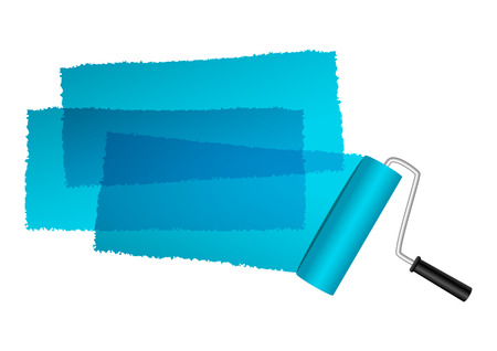 paint brush stroke: Paint roller with blue paint