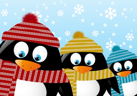 penguin: Cute penguins on winter background Illustration