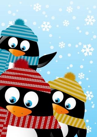 cartoon penguin: Cute penguins on winter background Illustration