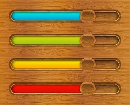 Set of color progress bars on wooden background Vector