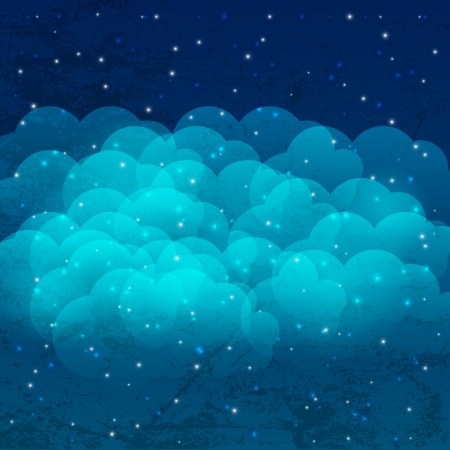 Night sky with shiny stars and clouds Vector