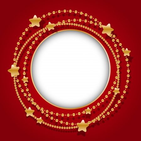 estrellas de navidad: Marco redondo con la guirnalda de Navidad de oro