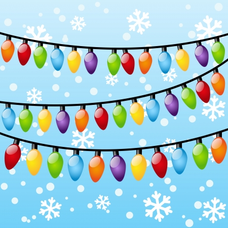 glowing light bulb: Christmas background with light bulbs Illustration