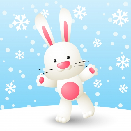cute rabbit: Cute white rabbit on winter background Illustration