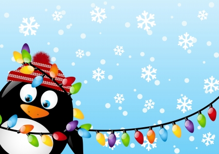 Funny penguin with light bulbs Vector
