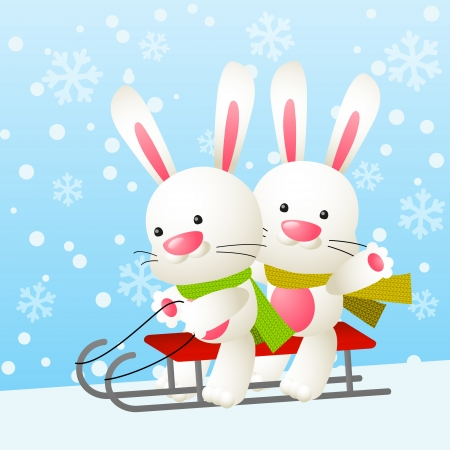 Cute white rabbits on a sled Vector