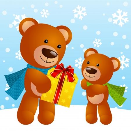 osos navideños: Osos divertidos con la caja de regalo Vectores