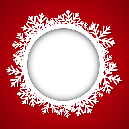 snowflake border: Christmas round frame with place for text