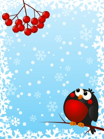 Funny bullfinch with rowan berries Vector