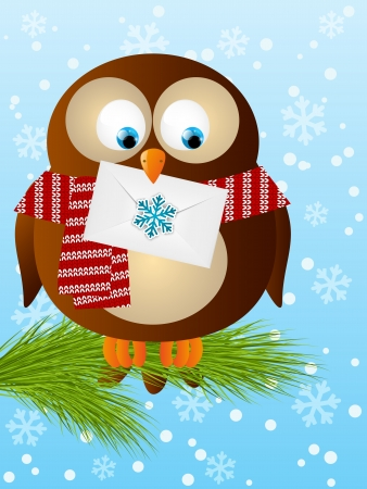 christmas mail: Funny owl with Christmas mail