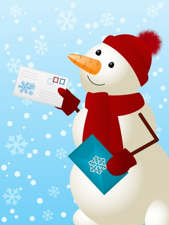 Funny snowman with Christmas mail 矢量图像