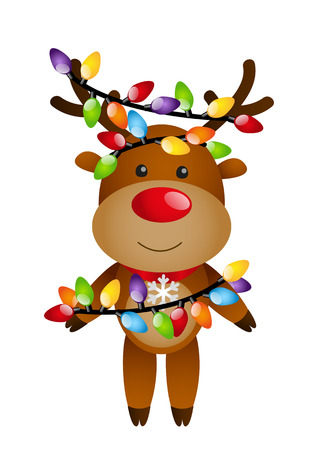 Funny deer with color light bulbs Vector