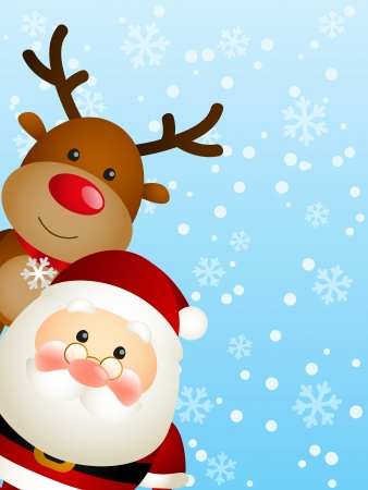 cartoon santa: Cute Santa with funny deer