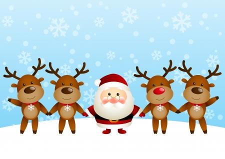Cute Santa drôle avec des cerfs