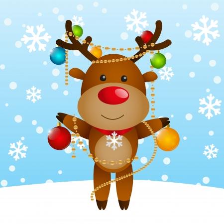 Funny deer with Christmas balls Vector