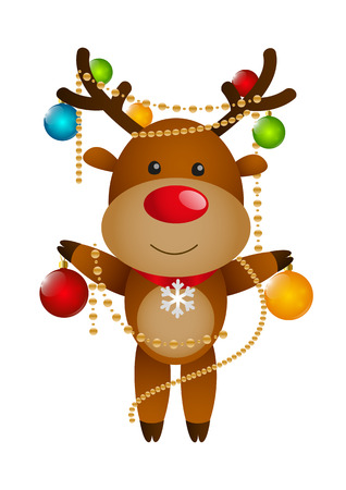 rudolph the red nose reindeer: Funny deer with Christmas balls