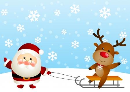 nariz roja: Cute Santa con los ciervos divertidos