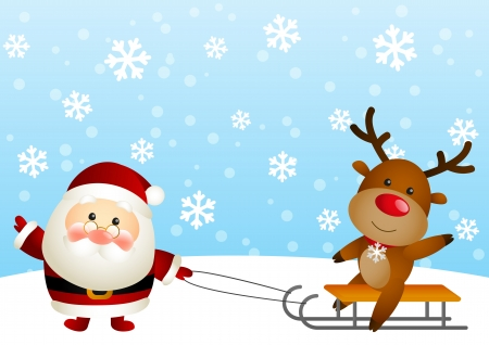 Cute Santa with funny deer Vector