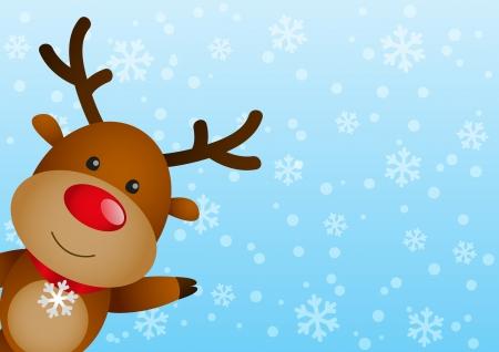 nariz roja: Ciervos divertidos en fondo del invierno