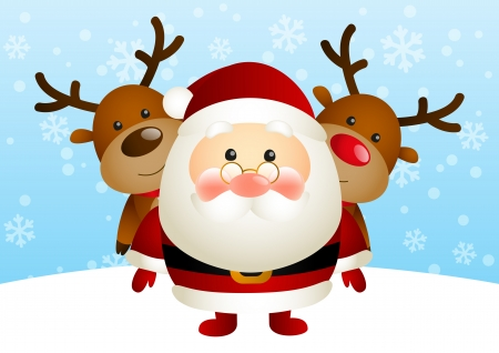 Cute Santa with funny deers Vector