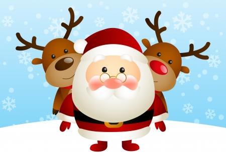 nariz roja: Santa lindo con divertidos ciervos