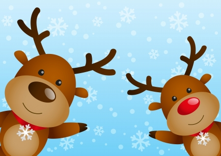 cartoon reindeer: Funny deers on winter background