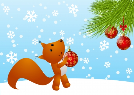 Funny squirrel with Christmas tree Stock Vector - 23540534