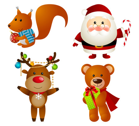 Set of Christmas cartoon characters Vector