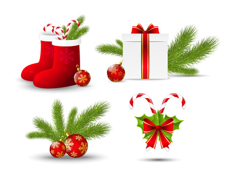 Set of vector Christmas icons on white Vector