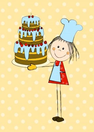 Birthday card with cute girl Stock Vector - 23662011