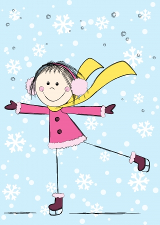 Funny girl on winter background Vector