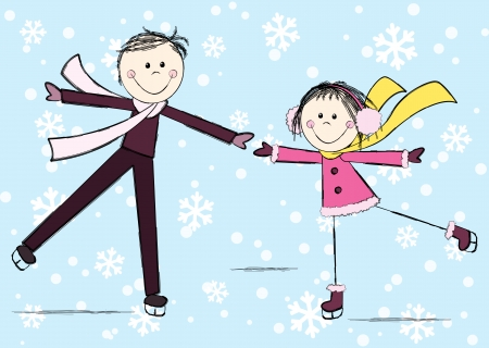 Funny girl with boy on winter background Vector