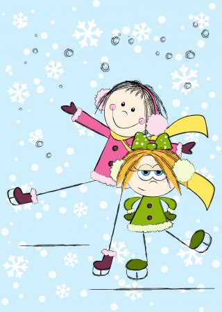 little skate: Funny girls on winter background
