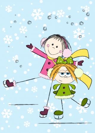 niño en patines: Muchachas divertidas en el fondo de invierno