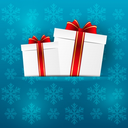 Paper Christmas background with gifts Vector