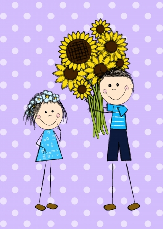 Funny doodle couple with sunflowers Vector