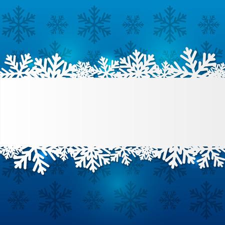 snowflake border: Paper snowflake border on blue Illustration