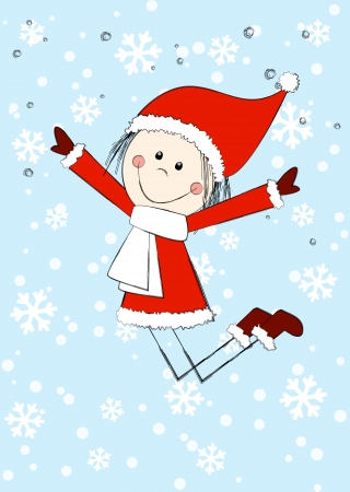 Funny girl wearing Santa costume Vector