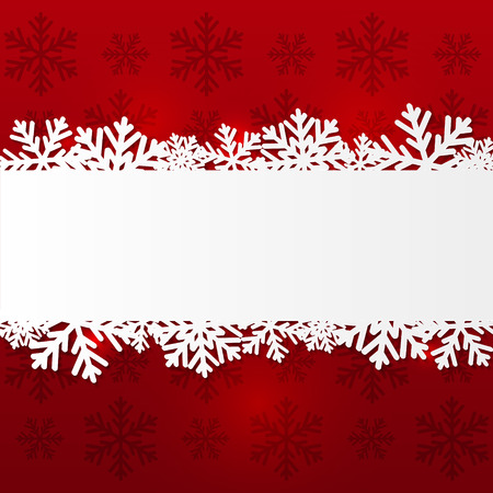 Paper snowflake border on red Vector